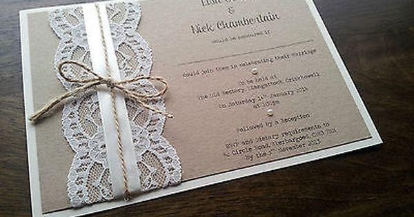 Wedding Invitations Handmade Ideas: SAMPLE Personalised Handmade Vintage Chic Lace Wedding