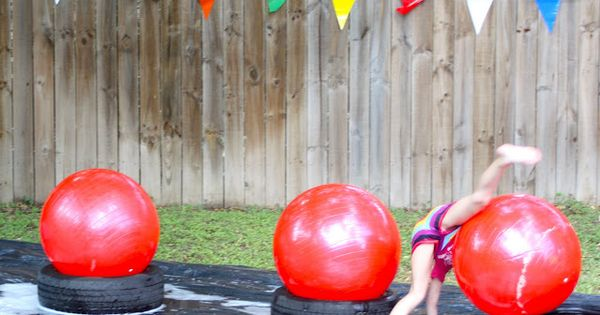 wipeout themed party: obstacle course | summer kids party idea