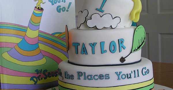 Dr. Seuss Birthday Cake - Oh the places you'll go.....cute idea for