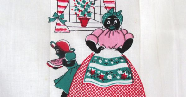 Vintage Towel Black Americana Mammy Watermelon Slice