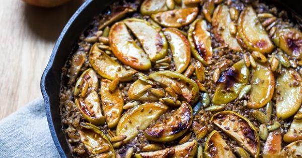 Skillet Baked Oats w/ Maple Glazed Apples   Steel cut oats ...