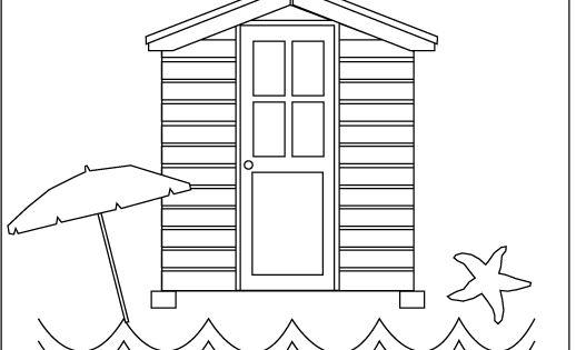 Summer beach hut coloring sheet