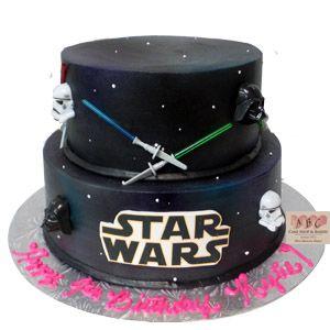 Strange 2 Tier Star Wars Birthday Cake Includes Stormtroop Darth Vadar Funny Birthday Cards Online Sheoxdamsfinfo