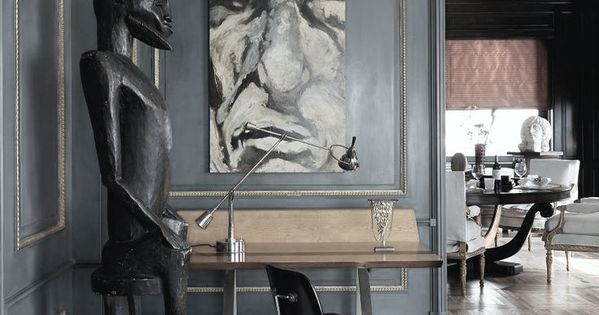 ... modern decor style  Huis  Pinterest  Pareti grigie, Grigio e Uffici