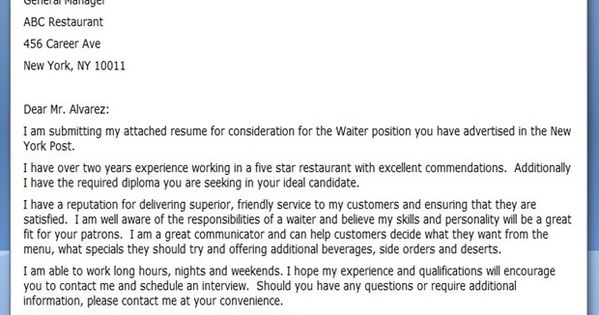 Restaurant Server Cover Letter Samples