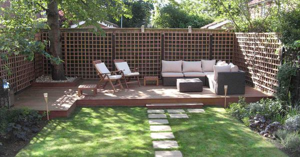 Ideas : Cozy Sofa For Seating At Low Deck In Small Backyard | Patio