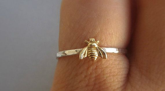 Simple tiny sterling silver bee ring, silver and gold brass stacking ring,