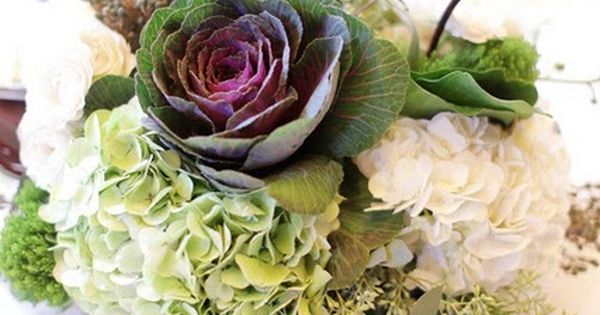 Ornamental kale in a white gourd centerpieces google