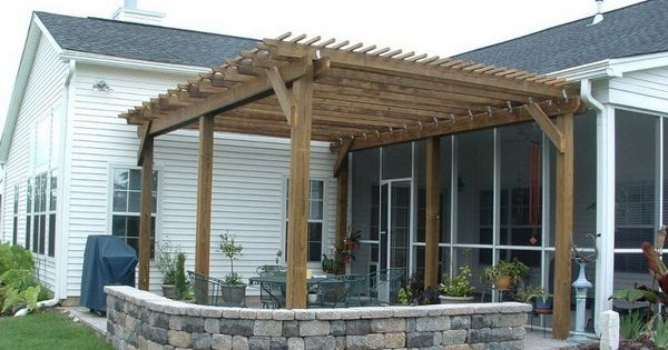Wooden+Pergola+Plans | Wood Pergola On Patio Natural Wood Patio Pergolas |  Rustic Porches | Pinterest