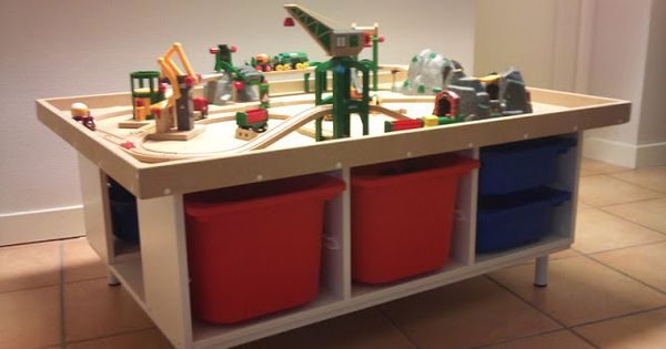 ikea hacker train table from trofast storage bins rangement playmobils pinterest rangement. Black Bedroom Furniture Sets. Home Design Ideas