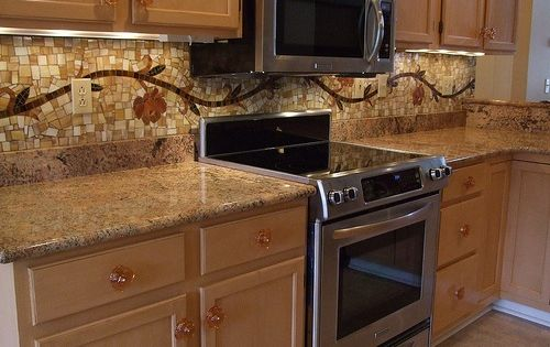 Vine Mosaic Tile Backsplash