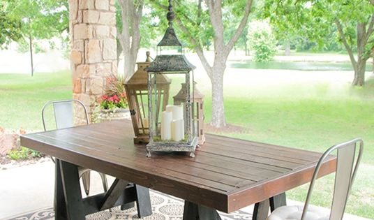 Build your own outdoor dining table a pottery barn knock for Build your own patio table