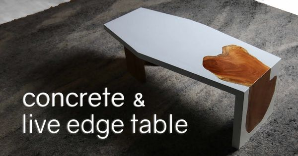 I Made A White Concrete Amp Live Edge Mahogany Waterfall Table People Either Love It Or Think It Looks Like A Coffin White Concrete Concrete Concrete Diy