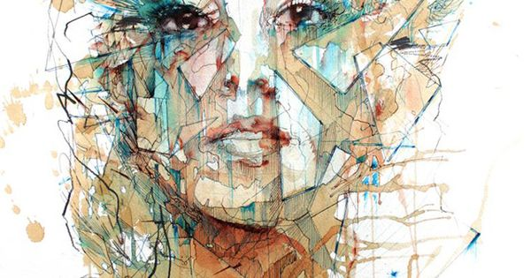 Portraits Drawn with Tea, Vodka, Whiskey and Ink by Carne Griffiths (painting