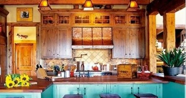 Log Cabin Kitchen I Like The Pop Of Color Not Necessarily This Color