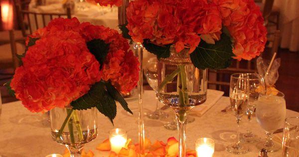 Fall colored hydrangea centerpieces