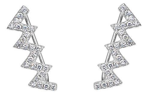 EleQueen 925 Sterling Silver Cubic Zirconia Leaf Ear Vine Crawlers Sweep Wrap Cuff Hook Earrings 1 Pair