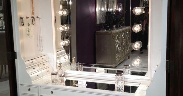 Jeweled Vanity Lights : Furniture, Black Makeup Table With Lighted Mirror And Small Fabric Bench #Makeup Vanity Table ...