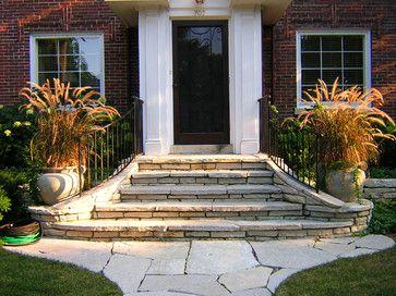 Front Steps Design Ideas Pictures Remodel And Decor Exterior | House Main Entrance Steps Design | Half Round | Landscape | Outside | Garden | Front Construction Area House