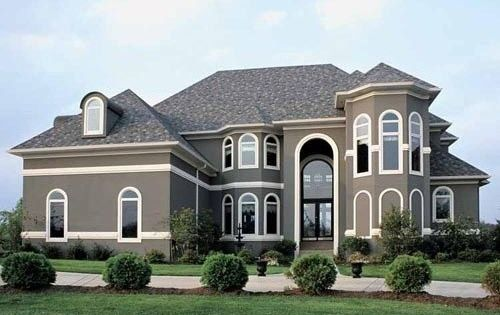 Stucco houses paint colors new house paint color grey stucco with white trim for the - Painting a stucco house exterior model ...
