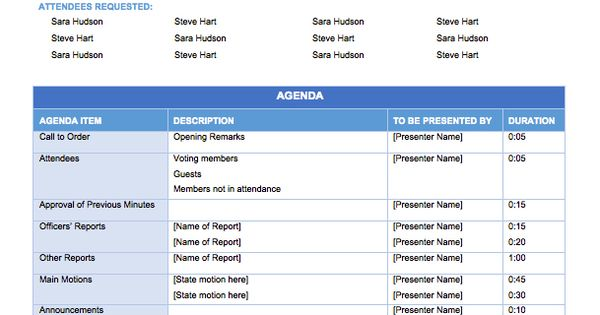 Free Meeting Agenda Templates - Smartsheet meeting Pinterest - agenda templates