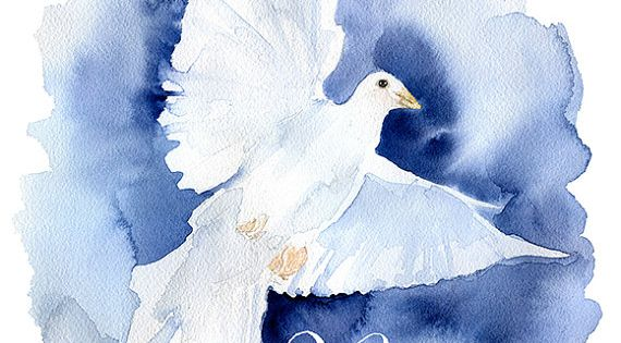 Peace Dove Watercolor Painting Christmas Cards Set of 10 ...