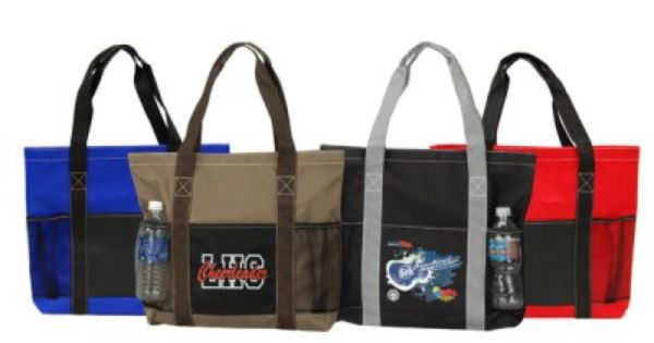 the custom branded velcro utility tote bag has 2 mesh