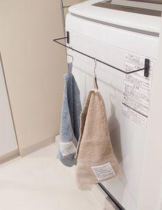 セリアのアイアンバーとマグネットで洗濯機にシンプルなタオル掛けが セリア アイアンバー ランドリールームの整理 洗面所 収納 おしゃれ