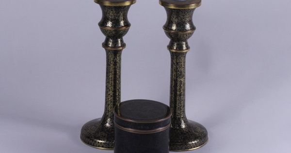 pair of cloisonne enamel candlesticks amp tea jar