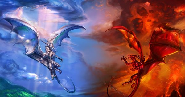 free fantasy dragon pictures Free good vs bad wallpaper