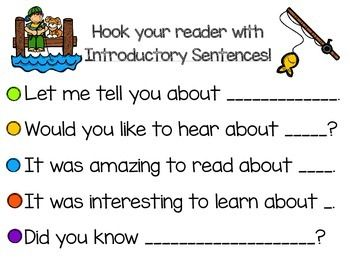 Five Introductory And Conclusion Sentence Starters Appropriate For K 2 Grade I Print Both Page Informational Writing Introductory Sentence First Grade Writing