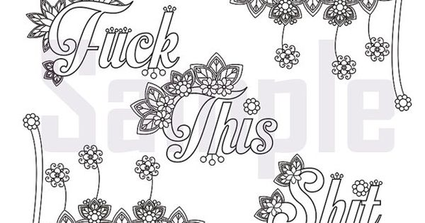 Sweary Coloring Page Fuck This Shit 2 Swearing