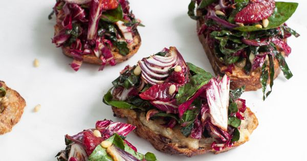 Bitter-Sweet Radicchio Salad Toasts with Cinnamon Vinaigrette | Lemon ...