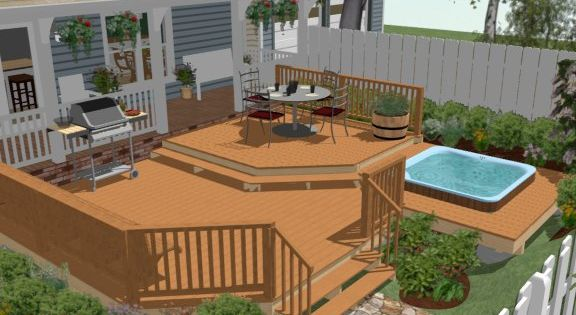 Above ground pool deck plans how to create a deck around for Pool deck design software