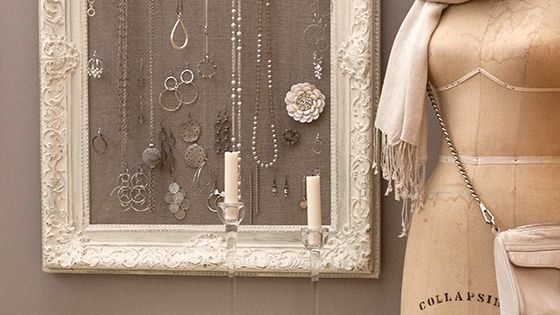 DIY: antique frame jewelry holder: can use burlap to go with picture