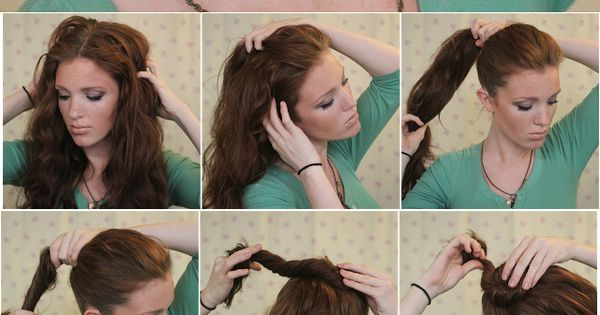 Super Easy Knotted Bun Updo and Simple Bun Hairstyle Tutorials, she makes