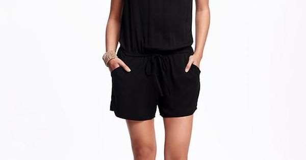 Twill Tie-Waisted Romper for Women | Old Navy