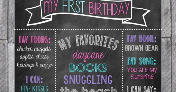 First Birthday Chalkboard Poster // Purple Pink & by MsThirdGrade