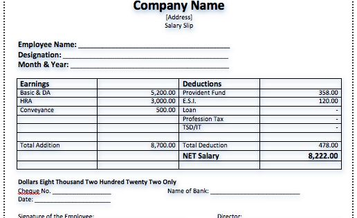Click to download a fullsize preview PDF Design – Download Salary Slip
