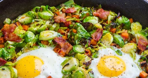 Brussels Sprout Hash with Sweet Potato and Bacon--made this with leftover ham