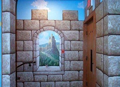 How To Paint Faux Castle Walls Homesteady Castle Mural Castle Wall Cardboard Castle
