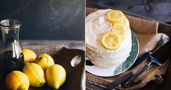 Lemon cake with black tea frosting. food cake dessert