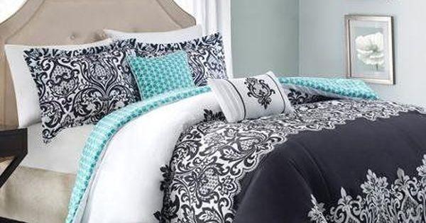 5pc Adorable Teen Girl Black Teal Damask Full Queen Comforter Set Bhg Teen
