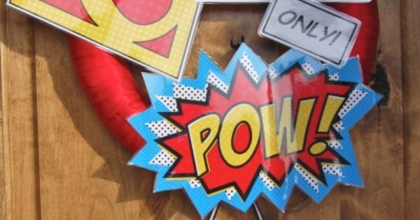 super hero wreath- for a birthday party maybe?