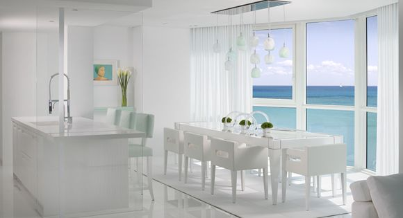 16 pristine white rooms the sky dining chairs and downtown miami - Dining room sets miami ...