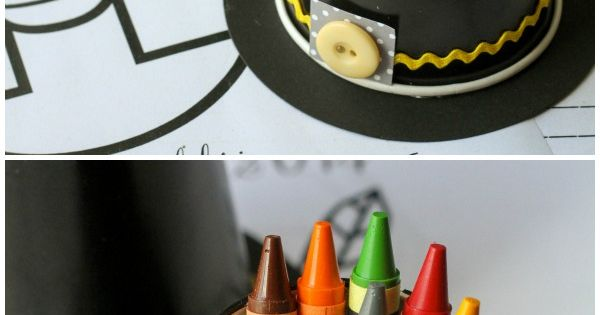 Cute and Simple Pilgrim Hat Crayon Cups - perfect for Thanksgiving table