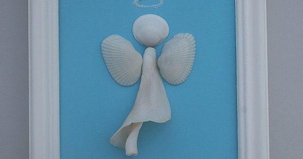 Framed Shell Art- Beach Angel- Coastal Decor- Beach Decor- Shell Angel- Seashell