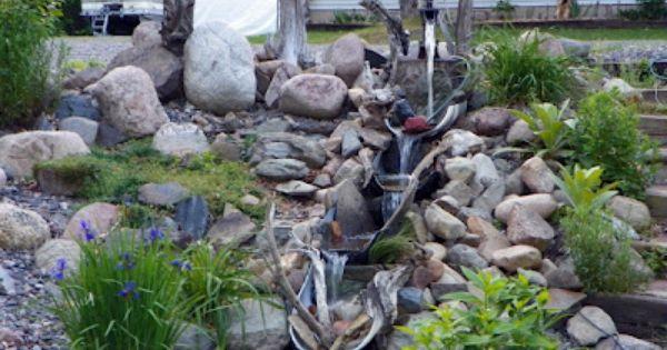 From My Garden Waterfalls Made From Plastic Barrels Cut In Half Garden Pinterest Plastic