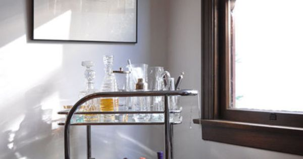 Nice bar cart in John's New York City Interior with a California