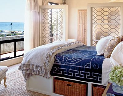 coral+and+blue+bedroom | Blue and white bedroom ideas via Coastal Living for a